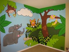 Art by Michekke! Jungle Theme Classroom, Jungle Theme Nursery, Safari Theme, Nursery Themes, Sunday School Rooms, Paint Themes, Room Wall Painting, School Murals, Murals For Kids