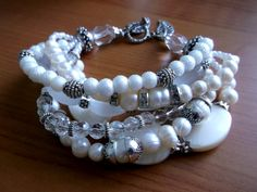 White Multistrand Wedding bracelet.Luxurious Pearl bracelet White jewelry 6 rows braceletChunky bracelet.