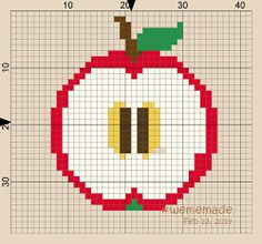 Perler Beads Creation No.15: Apple - Fresh Fruit in Round Design Collection  by #wememade