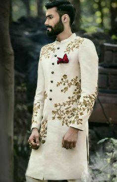 Regal Look Off White Sherwani Sherwani For Men Wedding, Wedding Dresses Men Indian, Groom Wedding Dress, Sherwani Groom, Wedding Attire, Indian Dresses, Indian Outfits, Bride Groom, Sikh Wedding