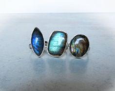 Labradorite Ring Sterling Silver Labradorite Ring Adjustable   Etsy