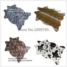 promo zebra cow leopard giraffe tiger printed rug cowhide faux skin leather nonslip antiskid mat 110x75cm #plush #carpet