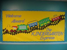 Welcome to Kindergarten~ bulletin board: Could work for PK, as well! Suggestion: put you class in the train cars. Cut their faces to fit into the windows of the cars! Kindergarten Bulletin Boards, Welcome To Kindergarten, Welcome To School, Classroom Bulletin Boards, Kindergarten Reading, Classroom Door, Preschool Welcome Board, Classroom Ideas, Preschool Boards