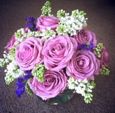 Lavender wedding bouquet. Lavender roses. Purple wedding.