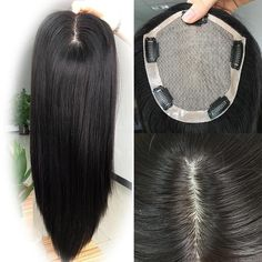 Natural Silk Top Human Hair toppers for womens toupee half wigs top hair pieces - Jet Black / 4.7 Inch * 5.0 Inch / 12 Inch