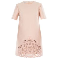 Rose Embroidered Dress (16 320 ZAR) ❤ liked on Polyvore featuring dresses, rose, womenclothingdresses, rose pink dress, embroidered lace dress, lace dress, pink lace dress and short-sleeve dresses