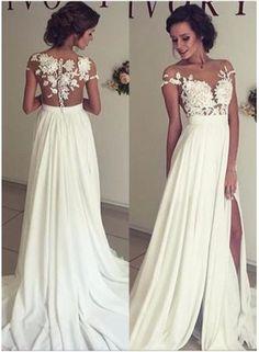 USD$199.00 - 2016 Summer Chiffon Wedding Dresses Lace Top Short Sleeves Side Slit Garden Elegant Bridal Gowns - www.babyonlinedress.com