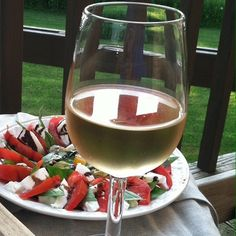from the contest: white wine & caprese salad