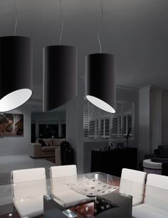 Pank SO30 ceiling lamp in black covering fabric with white fabric inside.