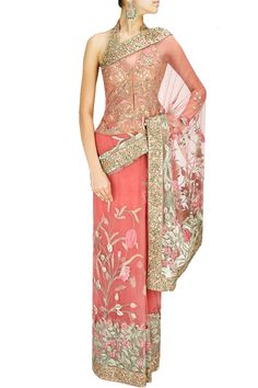 Powder pink gold thread embroidered sari with gold blouse by Ashima Leena. Shop designer now at www.perniaspopups...