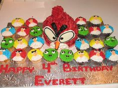 Angry Birds birthday party cupcakes