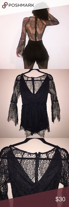 Tobi Black Lace Romper yes daddy! okay, this romper is to die for! i love it's sexy vibe and how chic it is! pair this with some black or red heels and you're gonna be breaking hearts ;) this is a size medium but runs a little large! in perfect condition, i have never worn it out. Tobi Dresses Long Sleeve