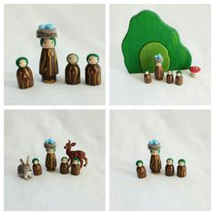 Tree Girl Peg Doll and babies Pretend Play Mat Accessory Woodland Forest Open-ended Storytelling Fairytale Dollhouse Fantasy Toy Child Set by MyBigWorld2015 on Etsy