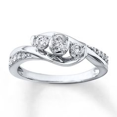 Round Diamond Engagement Ring White Gold Twist Swirl Four-Prong Traditional Bypass Surface-Set Accent-Stones Diamond Anniversary Rings, Round Diamond Engagement Rings, 30th Anniversary, Solitaire Engagement, Ring Set, Ring Verlobung, Ring Necklace, 3 Stone Diamond Ring, Emerald Diamond