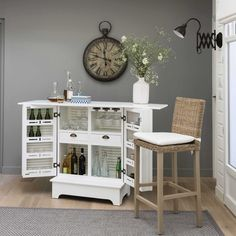 Mueble bar de madera blanco An. 80 cm Barbade | Maisons du Monde