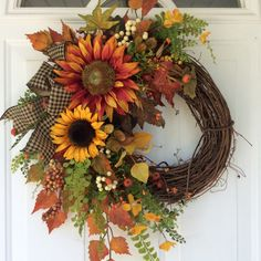 Fall Wreath for Front Door-Sunflower Wreath-Rustic Fall Wreath-Country Wreath-Cottage Chic-Fall Harvest Wreath-Autumn Wreath
