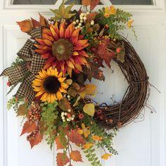 Fall Wreath for Front Door-Sunflower Wreath-Rustic Fall Wreath-Country Wreath-Cottage Chic-Fall Harvest Wreath-Autumn Wreath