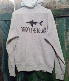 Shark sweatshirt Respect the Locals shark unisex hoody by ditchink