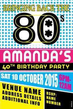 80s Neon Birthday Party Invitation DIY Printing JPEG File
