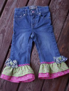 """Valentines Day """"WILD CHILD""""  Custom Girls ruffle jeans  in assorted sizes on Etsy, $25.00"""