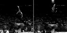GIF of McKayla compared to male gymnast. She really is the best vaulter in the world, male or female!