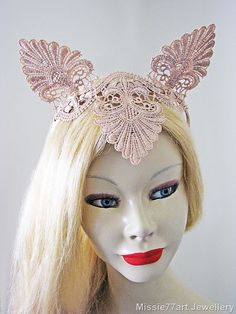Rose Gold Lace Cat Ear Crown Burlesque by Missie77artJewellery