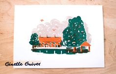 The Forty screen print, Cholsey, Oxfordshire. A big conker tree, red brick houses with white picket fences. Local art oxford, there colour print. Ginette Guiver design, illustration, printmaking and adventures blog