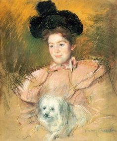 Woman in Raspberry Costume Holding a Dog,  Mary Cassatt - 1900