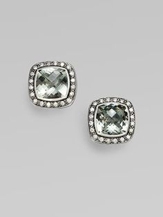 David Yurman: Diamond, Prasiolite & Sterling Silver Earrings