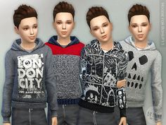 The Sims Resource: Hoodie for Boys P11 by lillka • Sims 4 Downloads