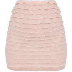 Petite Blush Ruffle Bodycon Skirt ($25) ❤ liked on Polyvore featuring skirts, flounce skirt, petite skirts, ruffle skirt, pink skirt and frilled skirt #bestlengthforskirtsonpetites