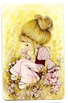 gifs et tubes sarah kay - Page 7 Vintage Greeting Cards, Vintage Postcards, Vintage Pictures, Vintage Images, Vintage 70s, Smelling Flowers, Holly Hobbie, Cute Illustration, Illustrations