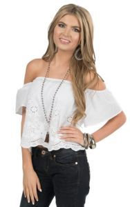 Flying Tomato Women's White with Floral Eyelet Short Sleeve Peasant Crop Top | Cavender's