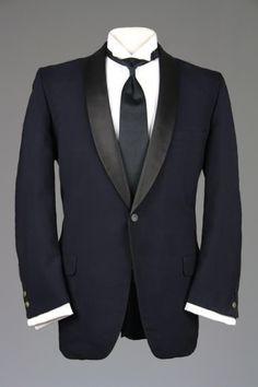 6712fd24ae2 Vintage 60s Custom Navy Satin Shawl Tuxedo Smoking Jacket 44 R Monkey Suit  Navy Tuxedos