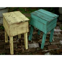 Wood Table Pair Set of Two Tables Rustic Home Decor Handmade Reclaimed... (€455) ❤ liked on Polyvore featuring home, furniture, black, coffee & end tables, home & living, living room furniture, hand made wood furniture, wood furniture, rustic reclaimed wood furniture and reclaimed wood furniture