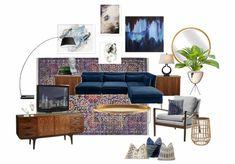 modern/boho living room with navy sofa by ellenfleckinteriors
