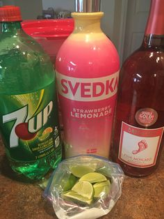 Poolside Punch. Very light and refreshing and great to drink during a pool day! Ingredients: 2 cups Svedka Strawberry Lemonade Vodka, 2-liter of 7up, 1.5liter of Barefoot Pink Moscato and 2 limes sliced. Mix all ingredients and squeeze limes slices as you or them in. Enjoy!