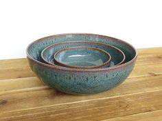 Ceramic Nesting Pottery Bowl Set in Sea Mist Glaze Rustic