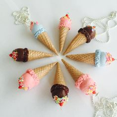 Ice Cream Cone Necklace, Polymer Clay, 3 Flavours