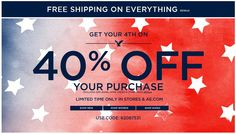 Pinned June 29th: 40% off at American Eagle Outfitters, or online via promo code 62087531 coupon via The Coupons App