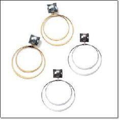 * Photon Mart*- Double Hoop Drop Earrings - Avon - Goldtone or Silvertone $4.99