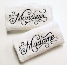 Monsieur & Madame Embroidered Towel Set ~ FREE SHIPPING French Chic His Hers Bathroom Accent ~ Hand Bath