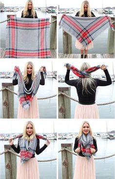 How To Wear A Blanket Scarf. So what do you do to look chic? How To Wear A Blanket Scarf Blanket Scarf Outfit, How To Wear A Blanket Scarf, Ways To Wear A Scarf, How To Wear Scarves, Tie Scarves, Scarfs Tying, Chunky Scarves, Plaid Blanket, Square Scarf How To Wear A