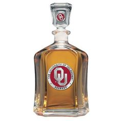 University of Oklahoma Sooners Decanter Team Color Glass Bottle