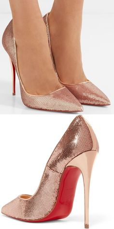 Christian Louboutin's 'So Kate' pumps are covered in rose gold sequins that are intricately placed so they overlap and shimmer like mermaid scales. This pair has glossy pin-thin heel and is outlined in coordinating mirrored leather.