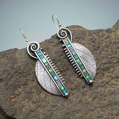Sterling silver long dangle earrings abstract by LizardsJewelry