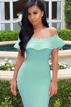 39a95db564 Pink Off The Shoulder Ruffle Neck Bandage Dress