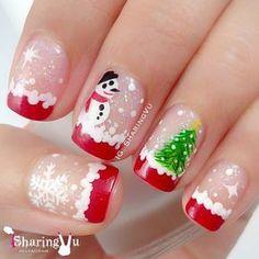 Matching your nail art according to the season gives a great feel.So here are Pretty Winter and Christmas Nails Art Designs. Cute Nail Art Designs, Christmas Nail Art Designs, Christmas Design, Christmas Manicure, Holiday Nails, Hair And Nails, My Nails, Santa Nails, Glittery Nails