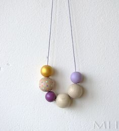 Hand Painted Wooden Bead Necklace