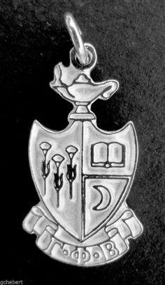 Gamma Phi Beta, ΓΦΒ, Large Sterling Silver Crest Pendant Charm NEW #McCartney #Traditional